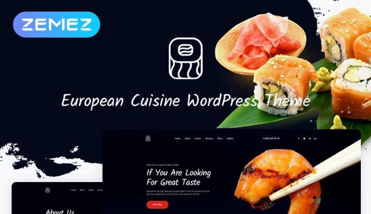 European Cuisine, plantilla WordPress para restaurantes