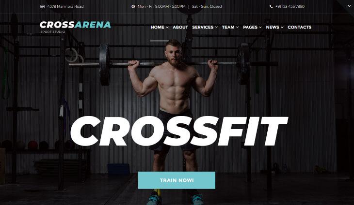 Cross Arena, plantilla WordPress para gimnasios, centros deportivos y de fitness
