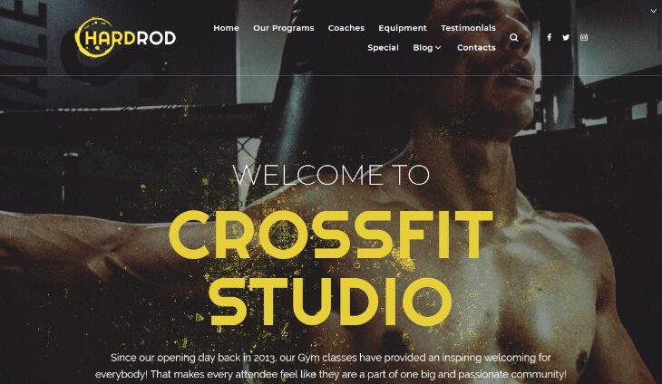 Hardrod, plantilla WordPress para gimnasios, centros deportivos y de fitness