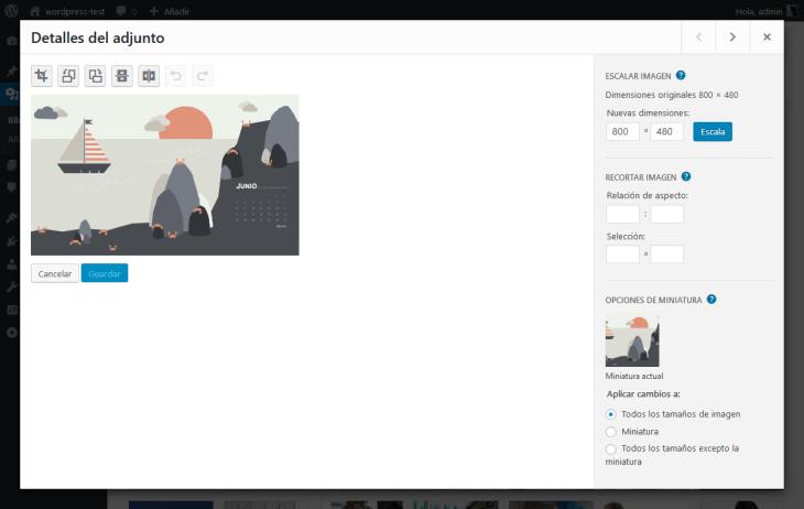 Ventana de edición de imágenes dentro de WordPress