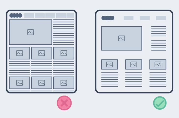diferencia de diseño web al añadir espacios en blanco entre elementos