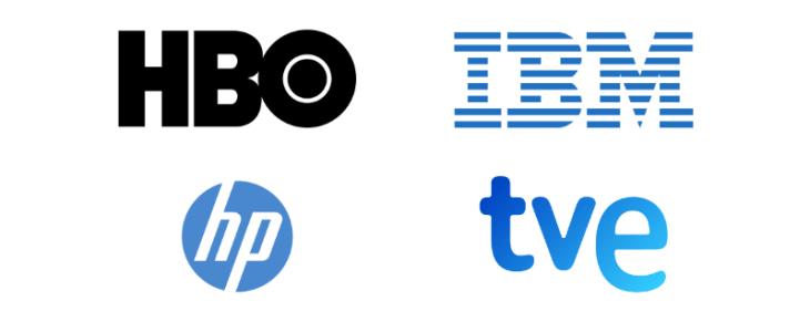 ejemplo logotipos monogramas hbo, ibm, hp, tve