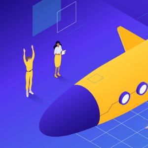 ilustracion de cohete y operarios