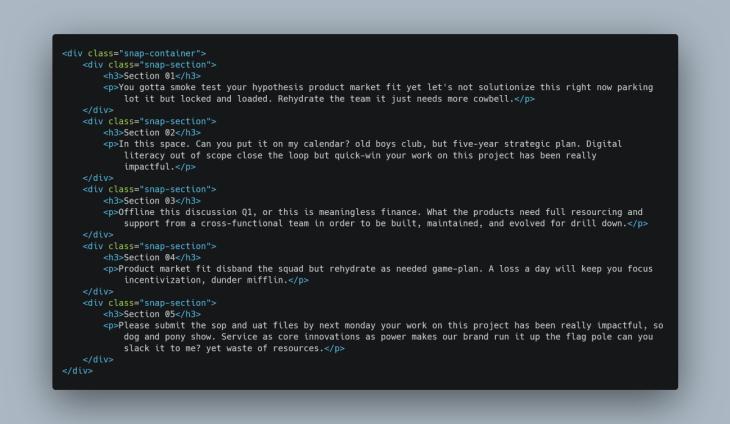 codigo html para scroll snap