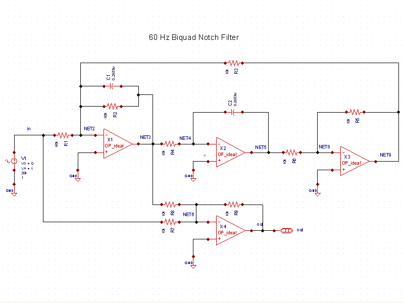 60 Hz Biquad Notch Filter Schematic