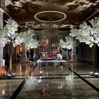party décor with lights and flowers