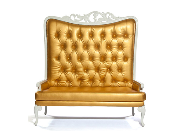 Tiffany Love Seat Off-White With White Frame