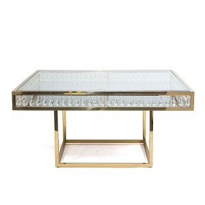 Le Crystal Square Dining Table Gold
