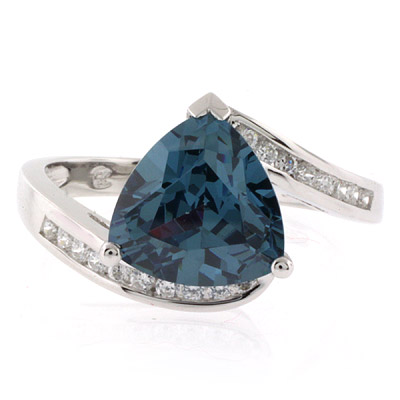 Silver Trillion Cut Alexandrite Ring Blue To Green Color