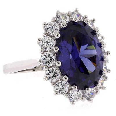Tanzanite Sterling Silver Princess Kate Style Ring