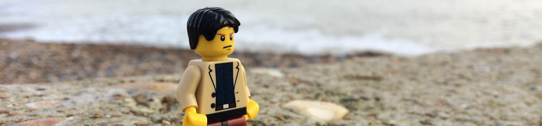 lego figure on the beach