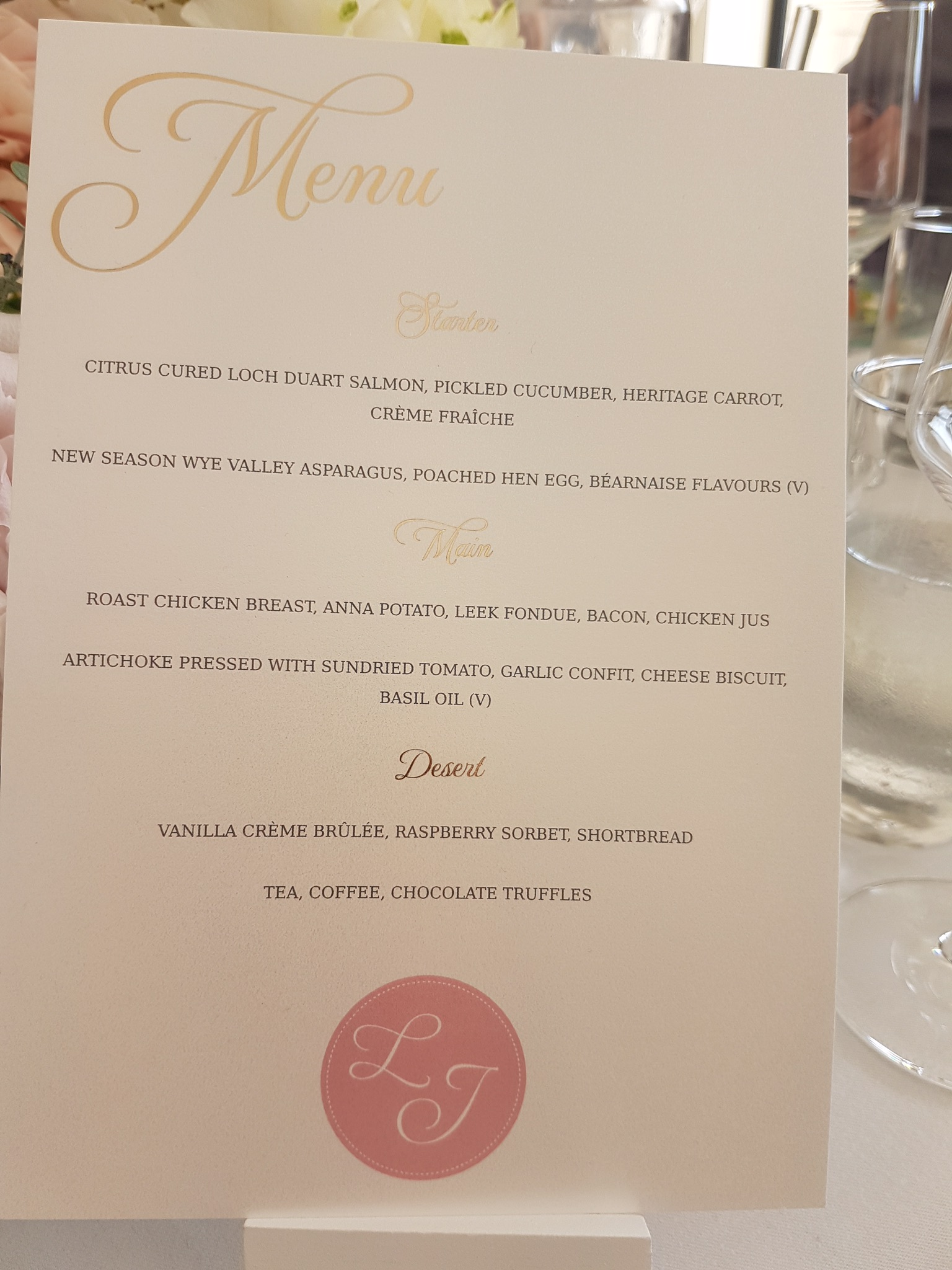 Gold foil menu cards for the tables