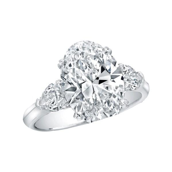Silverhorn oval diamond three stone ring