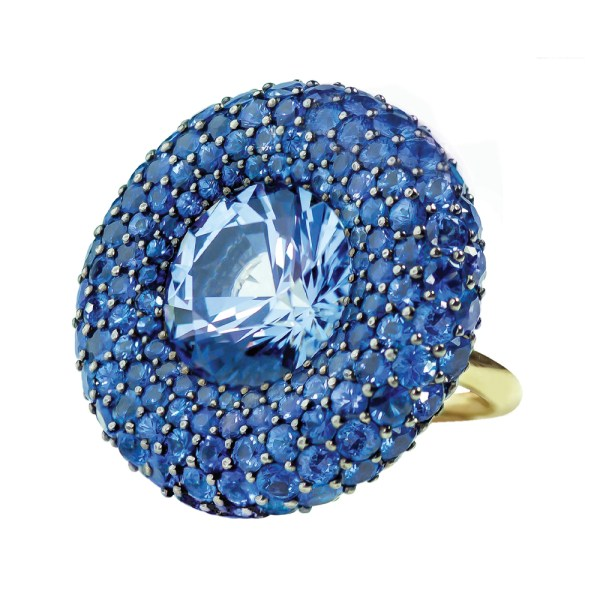 Silverhorn round sapphire pave ring