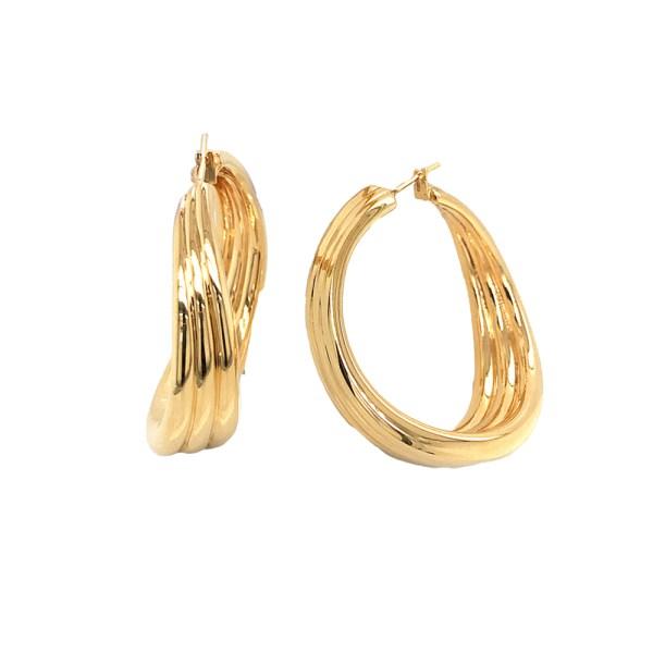 Silverhorn Fluted Gold Ear hoops