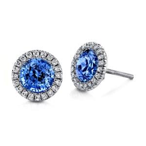 Silverhorn sapphire and diamond studs