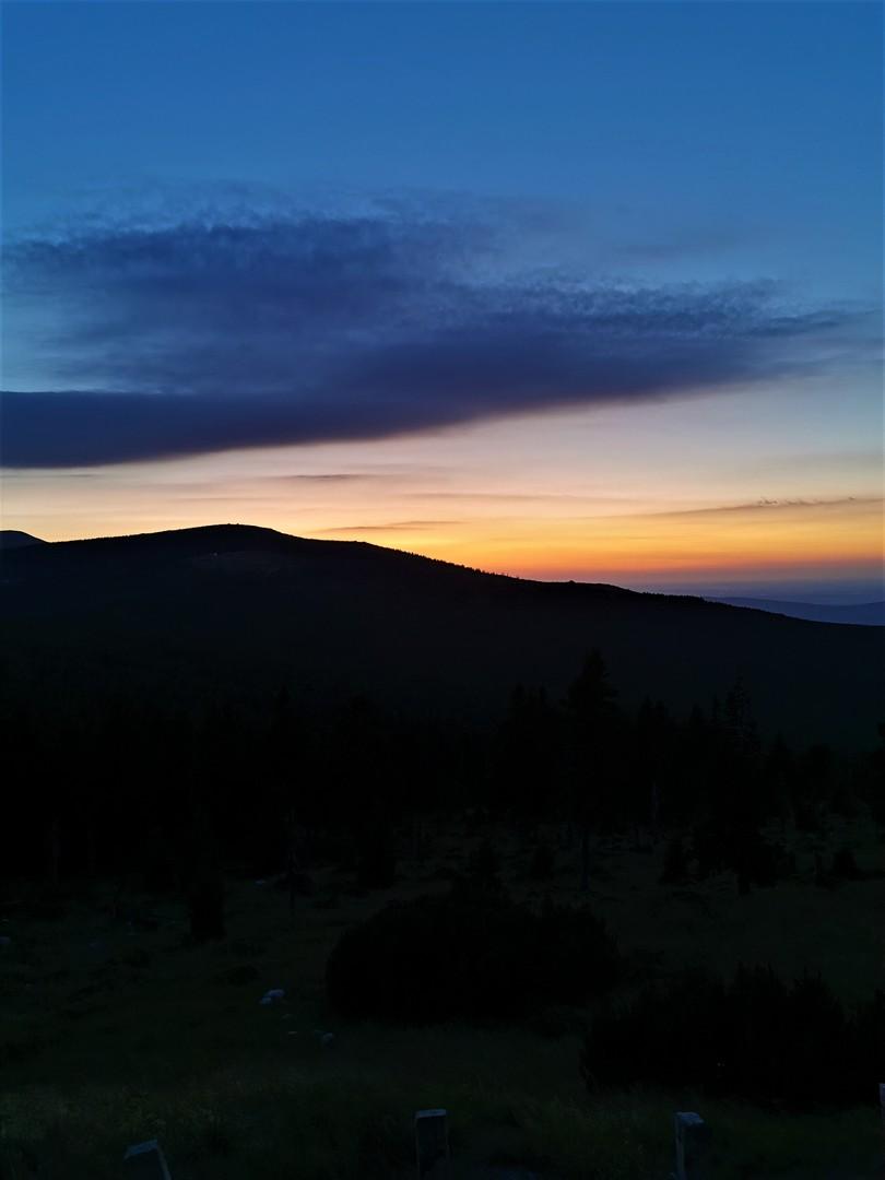 Przełęcz Karkonoska, zachód słońca