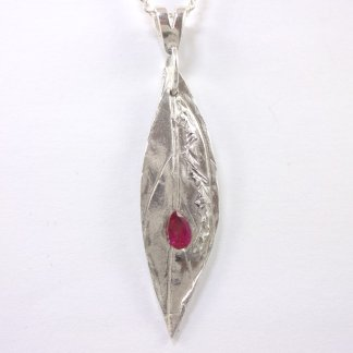 1088 2 Slender Pure Silver Leaf Pendant with Red Teardrop CZ Crystal from SilverMistDesign.co.uk