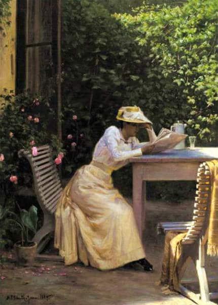 A Lady Reading in the Garden from Artist Niels Frederik Schiøttz-Jensen.