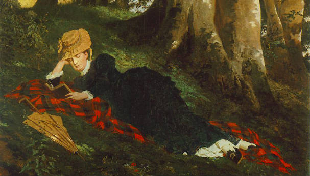 """""""Reading Woman in the Forest"""" by Gyula Beczur (1875)"""