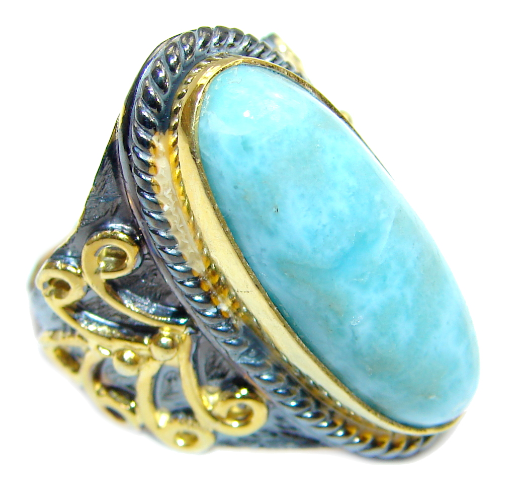 Genuine Larimar Blue Topaz Rose Gold Rhodium Plated
