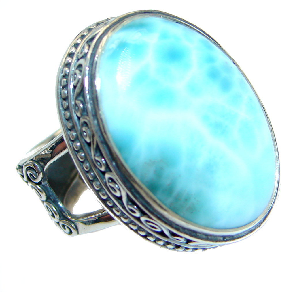 Genuine Larimar Oxidized Sterling Silver Handmade Ring