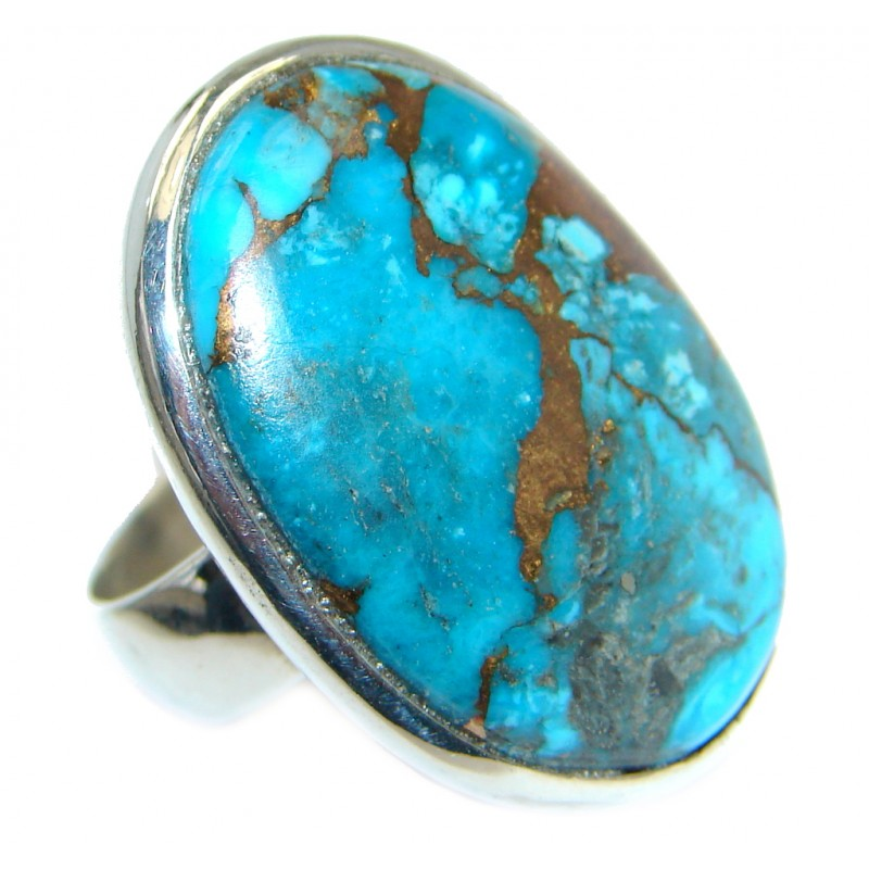 Simple Design Copper Turquoise Sterling Silver Handmade