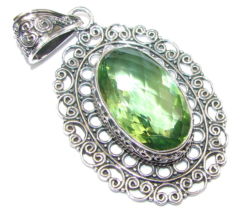 Bali Secret Created Green Peridot Sterling Silver Pendant