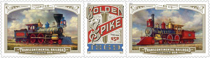USPS Transcontinental Golden Spike Stamp