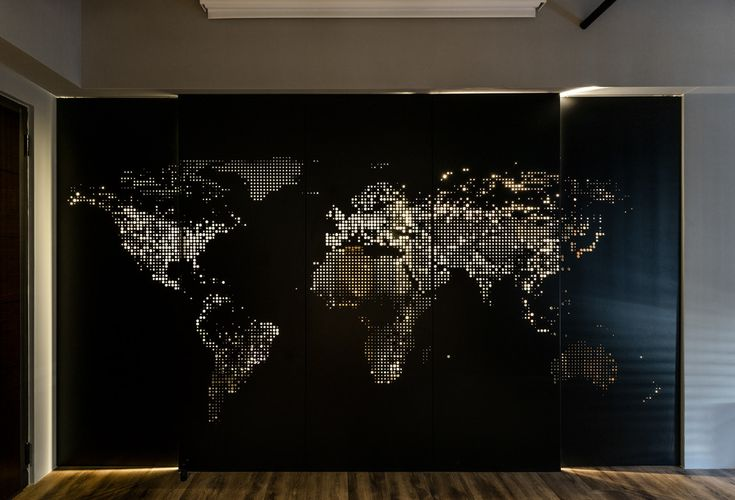 Room partition that allows light through to create a map