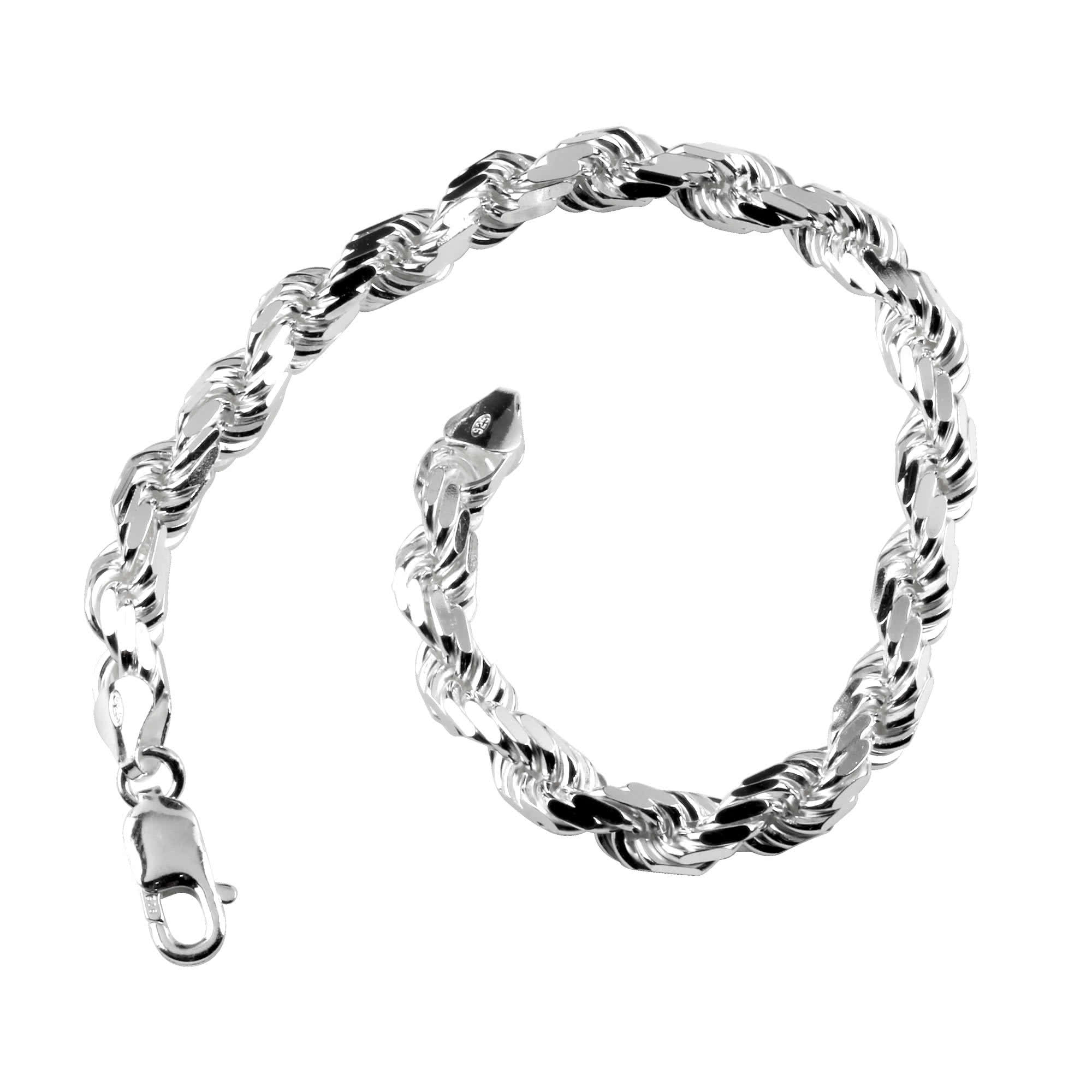 Solid Sterling Silver Diamond Cut Rope Bracelet 7 20mm