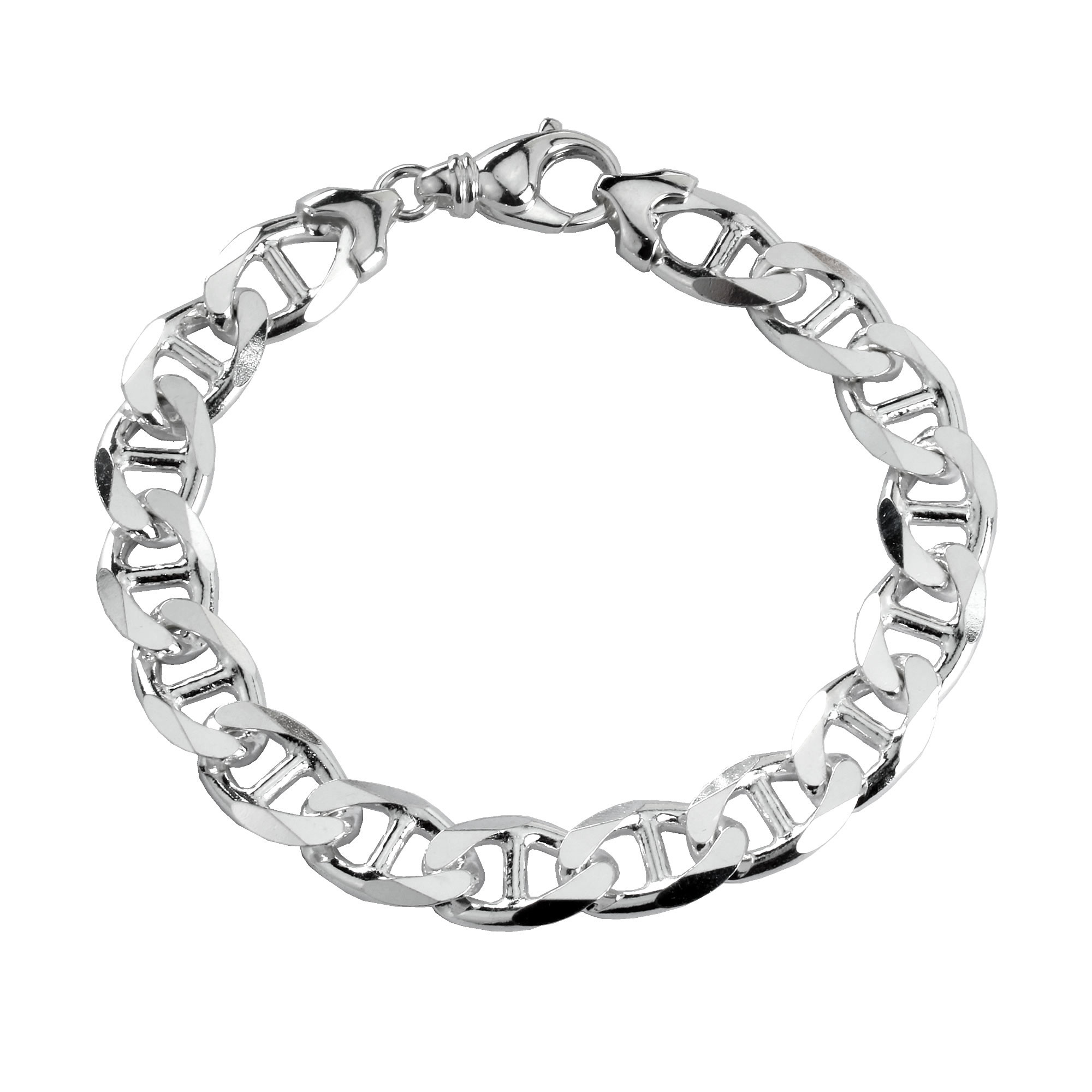 Heavy Solid Sterling Silver Anchor Curb Bracelet 12mm Width
