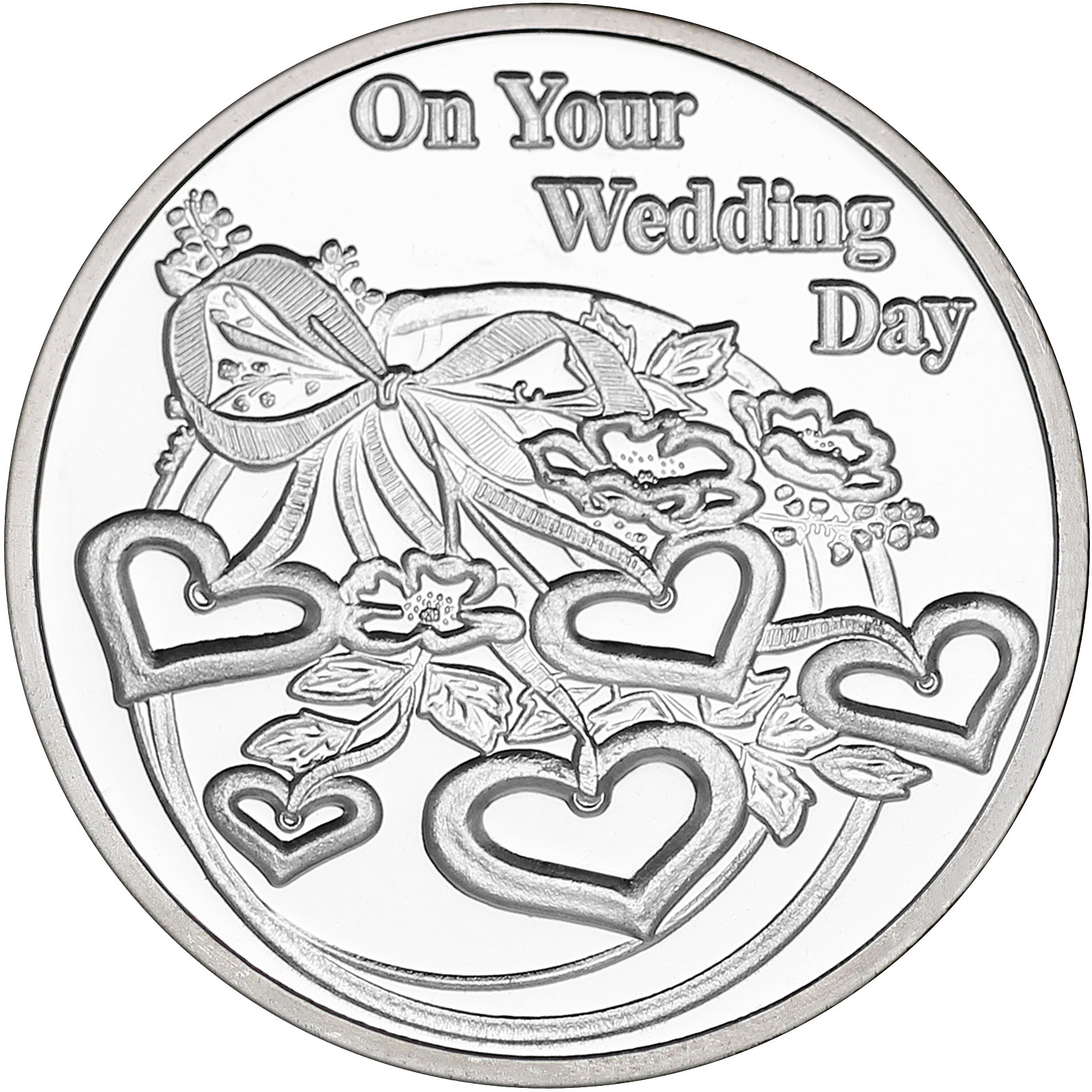 On Your Wedding Day Hearts 1oz 999 Silver Medallion Dated