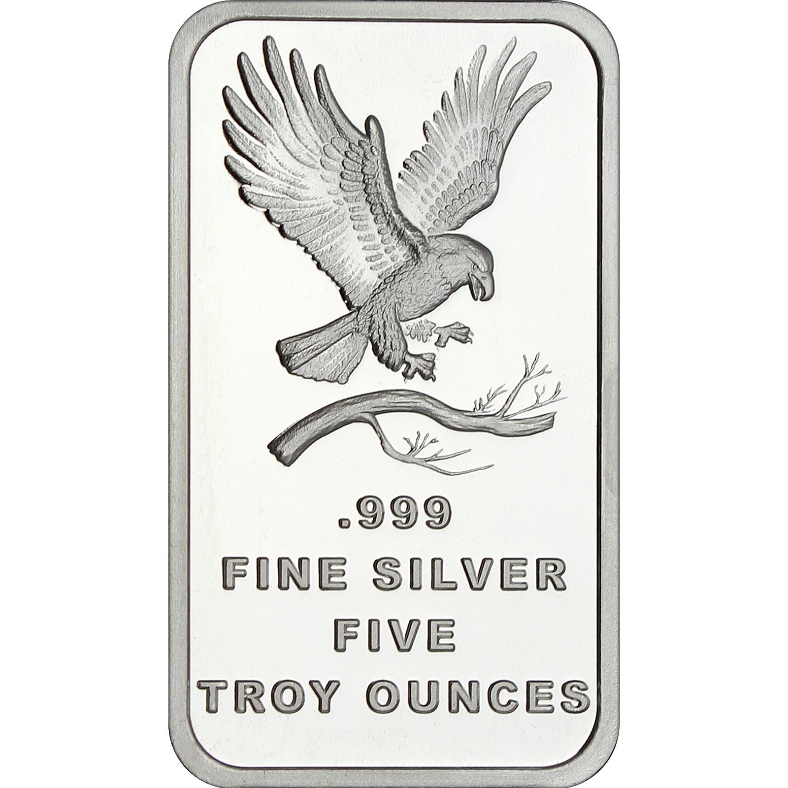 Trademark Bald Eagle 5oz 999 Fine Silver Bars By