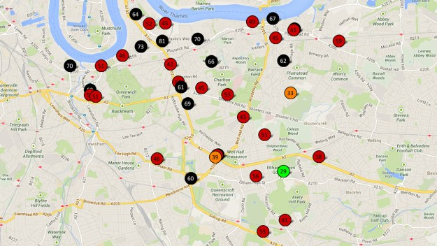 Greenwich Council NO2 air pollution monitoring results - December 2012
