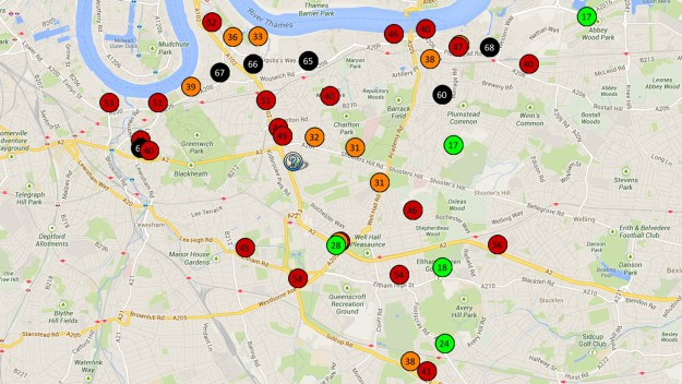Greenwich Council NO2 air pollution monitoring results - May 2013