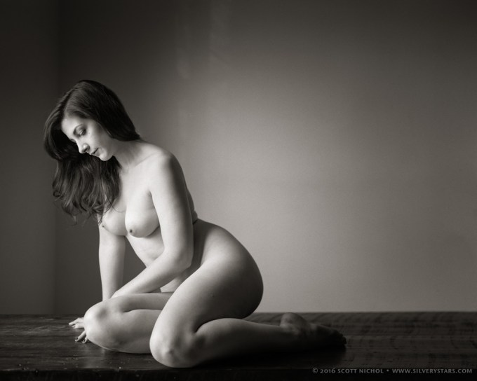 Caitie Marie - Nude, Seated on Rustic Table