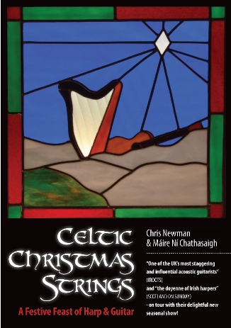 stylised picture of blue sky and irish hills with a celtic harp