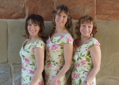 The three members of SassCappella: Gwen Woodfield (songwriter), Marie-Therese King, Janet Smith