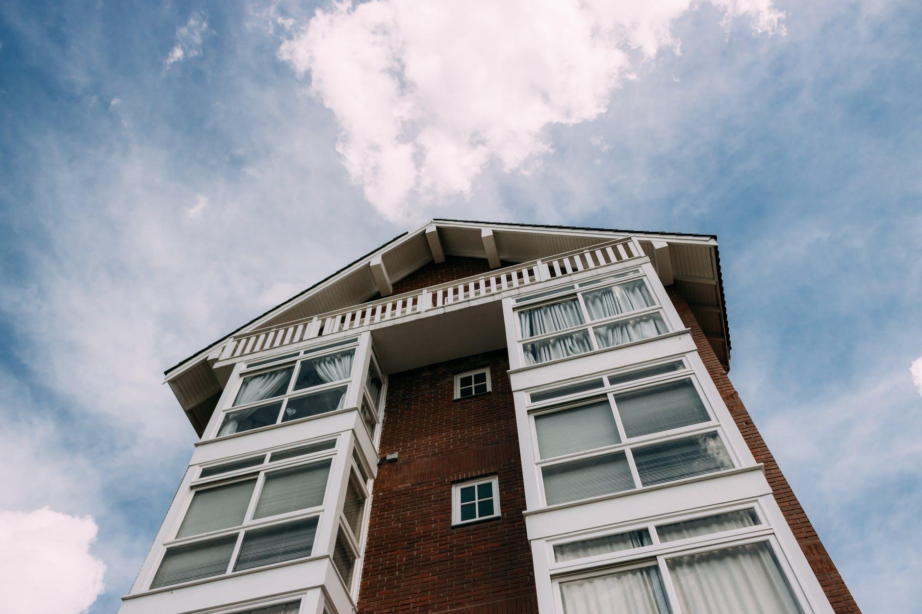 wood sky blue building