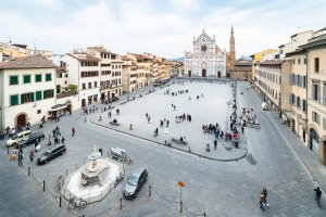 View of Santa Croce square in Florence, Tuscany