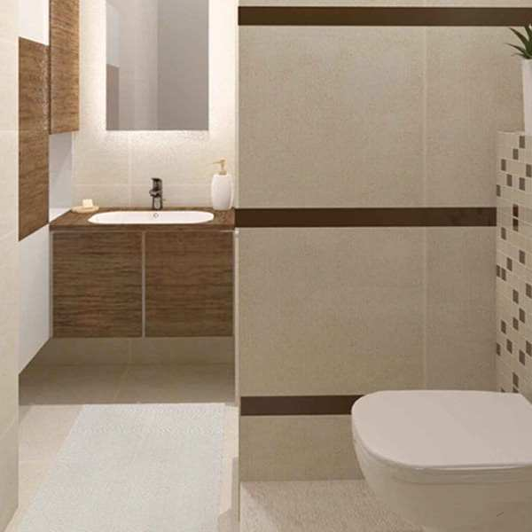 Moderno kupatilo kombinacija bež braon sa kadom 1