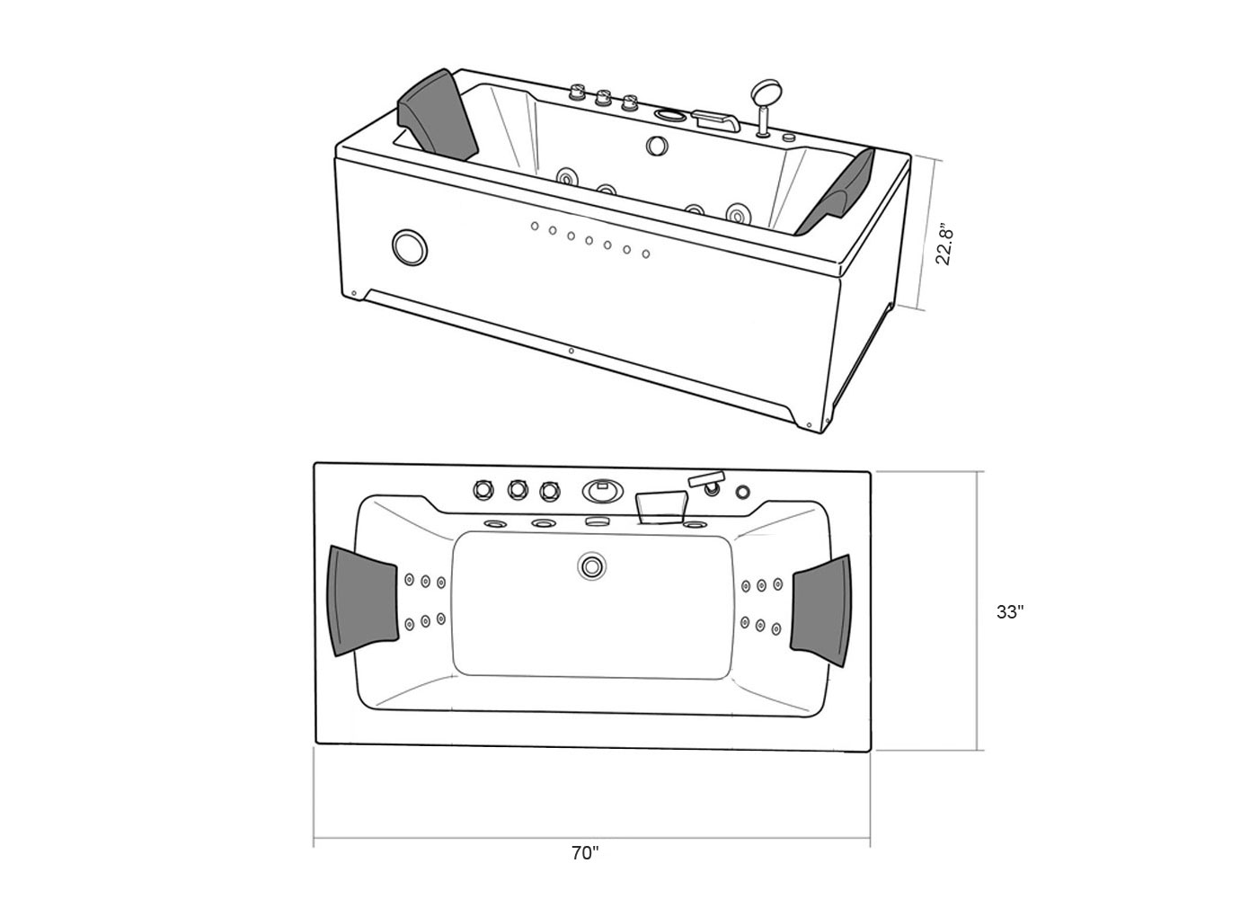 Whirlpool Bathtub 70 X 33 Black Hot Tub Double Pump