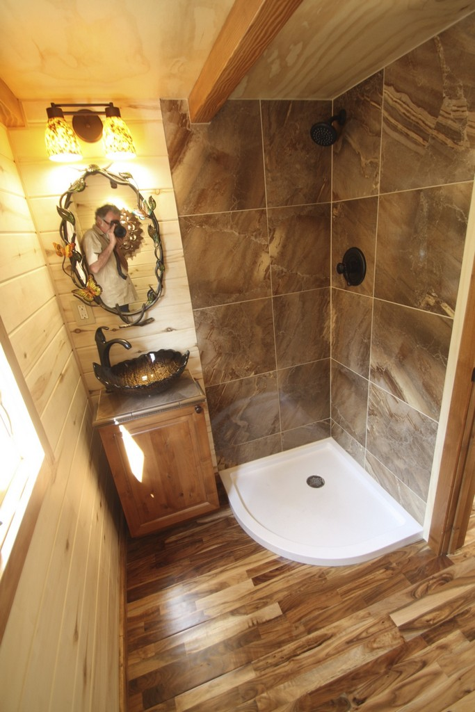 Simblissity Tiny Homes - Stone Cottage on Rustic:s9Dkpzirpk8= Farmhouse Bathroom  id=55994