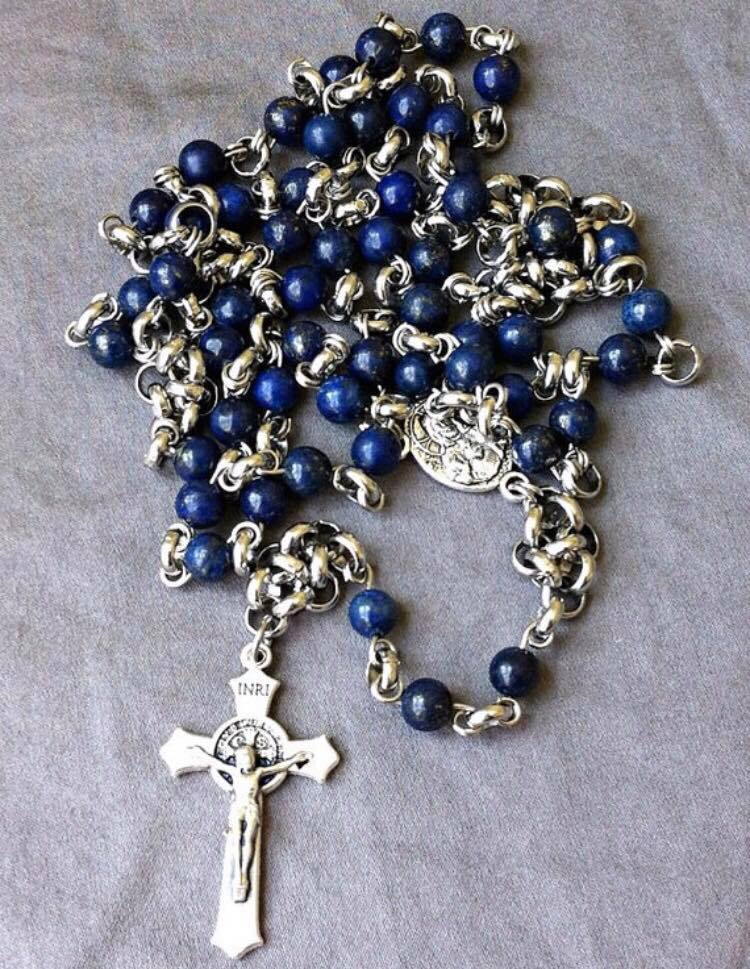 Stainless Steel And Lapis Lazuli Rosary With Sacred Heart Medal St Benedict Crucifix