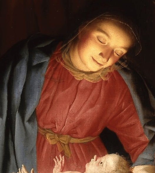 Mary's downward gaze