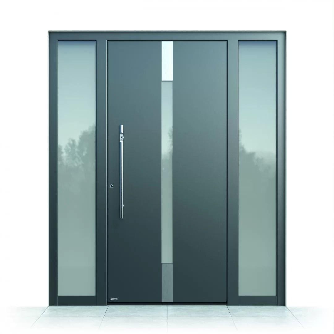 Ușă intrare aluminiu Pirnar Optimum CarbonCore 7180 sticlă laminată satinată