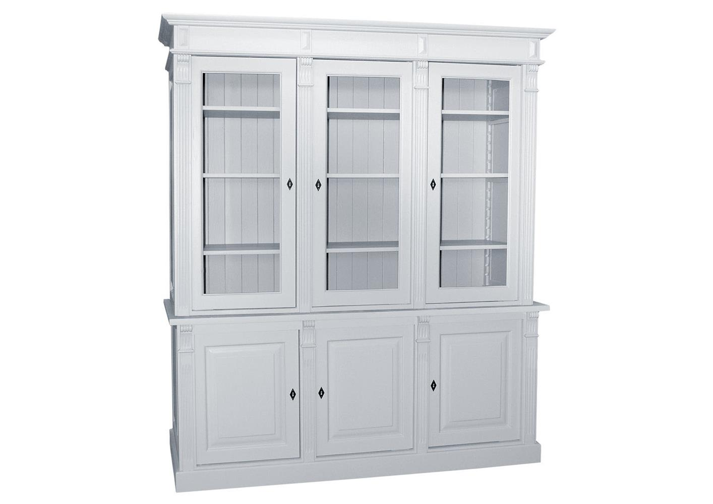bibliotheque en pin massif blanc 3 portes vitrees