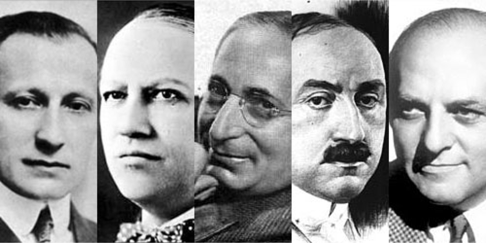 Adolph Zukor, Carl Laemmle, Louis B. Mayer, William Fox, Harry Cohn of Columbia