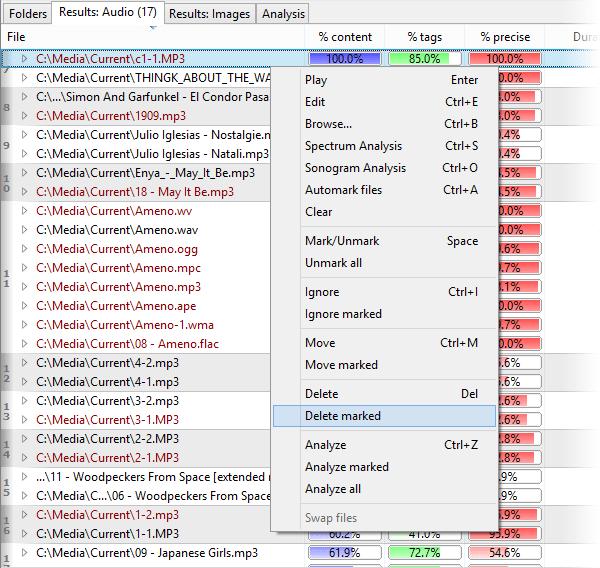 Screenshot: Marking files